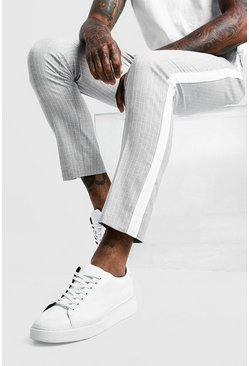 Mens Light grey Stripe Side Panel Detail Smart Cropped Trouser