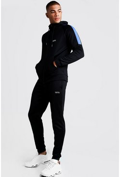 Mens Black MAN Skinny Fit Tracksuit With Side Panels