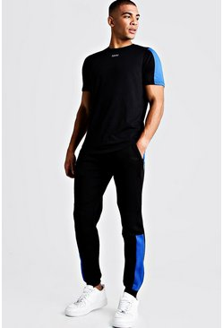 Black MAN Biker Skinny Fit Joggers