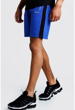 Mens Cobalt MAN Mid Length Shorts With Side Panels