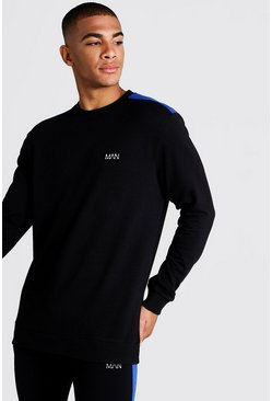 Mens Black MAN Jersey Sweater With Panels