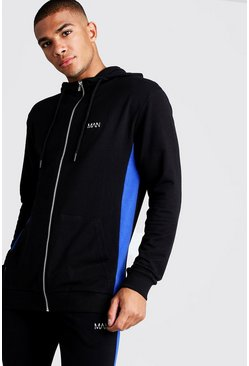Mens Black MAN Zip Through With Piping Detail