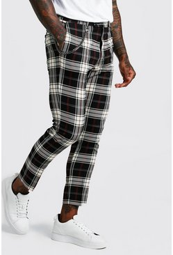 Mens Black Tartan Cropped Smart Trouser With Chain