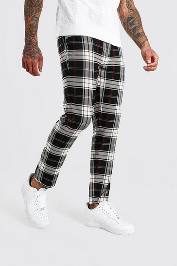Grey Tartan Cropped Smart Trouser With Chain
