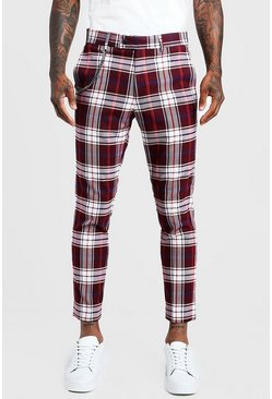Mens Burgundy Tartan Cropped Smart Trouser With Chain