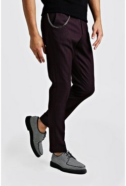 Mens Burgundy Jaspe Mini Check Smart Trouser With Chain