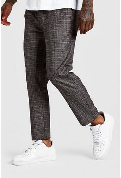 Brown Check Smart Jogger Trouser
