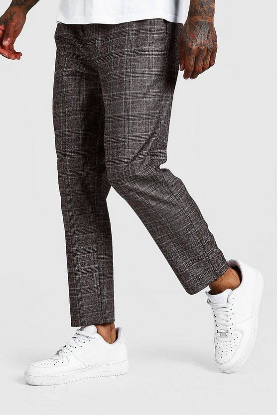 Pantalon de jogging habillé à carreaux, Marron, Homme