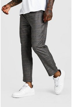 Mens Black Check Smart Cropped Jogger Trouser