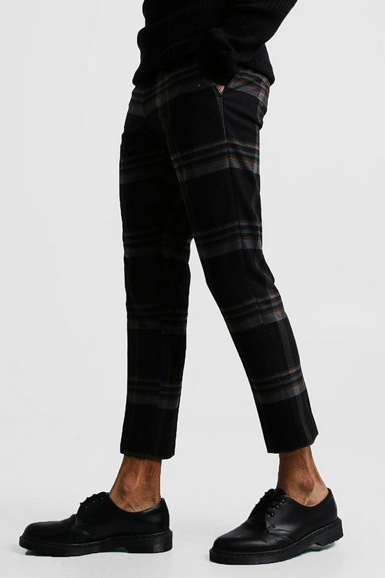 Mens Black Winter Tartan Skinny Fit Cropped Trouser