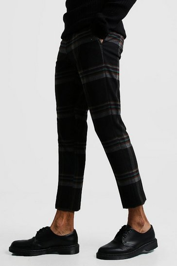 Black Winter Tartan Skinny Fit Cropped Trouser