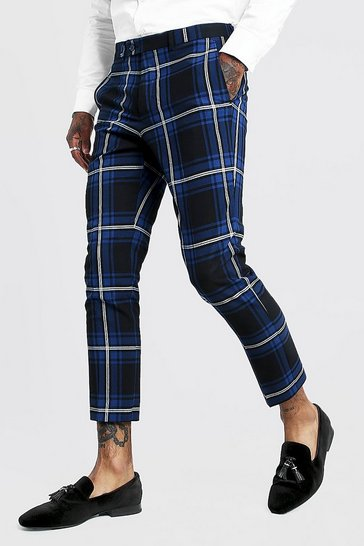 Mens Cobalt Large Scale Tartan Smart Cropped Trouser