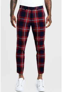 Herr Red Large Scale Tartan Smart Cropped Trouser