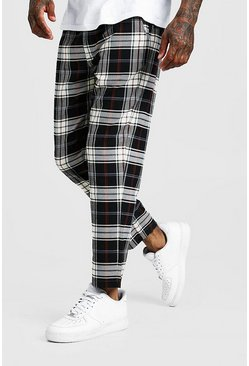 Blue Multi Check Smart Cropped Jogger Trouser