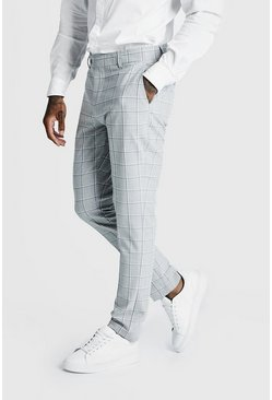 Grey Windowpane Check Smart Formal Trouser