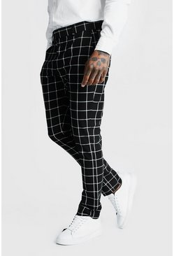 Pantaloni eleganti Smart a quadri Windowpane, Nero, Maschio