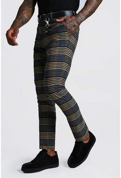 Mens Blue Multi Check Detail Skinny Fit Smart Trouser