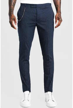 Navy Stripe Chain Detail Smart Pants