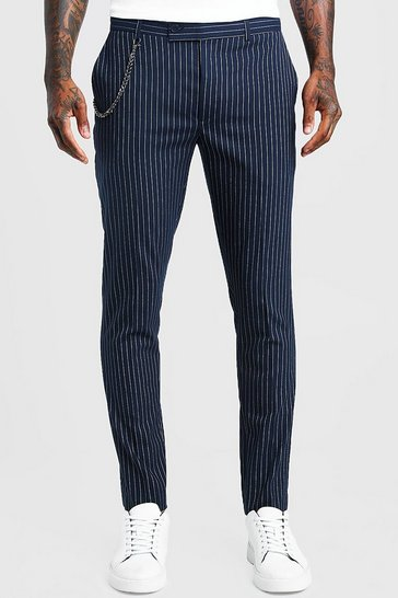 Navy Stripe Chain Detail Smart Trouser