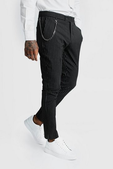 Mens Black Stripe Chain Detail Smart Trousers