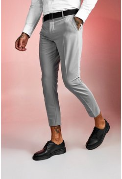 Mens Grey Plain Buckle Detail Cropped Trouser