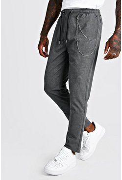 Mens Grey Smart Jogger Trouser With Chain Detail