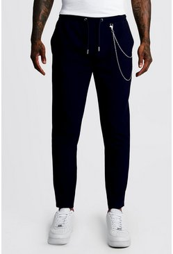 Navy Smart Jogger Trouser With Chain Detail