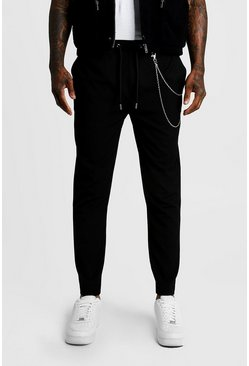 Black Smart Jogger Trouser With Chain Detail