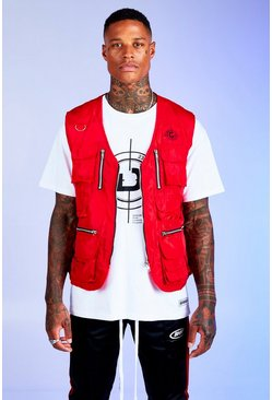 Red Deno Driz Utility Vest With Multi Pocket Detail