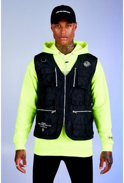 Mens Black Deno Driz Utility Vest With Multi Pocket Detail