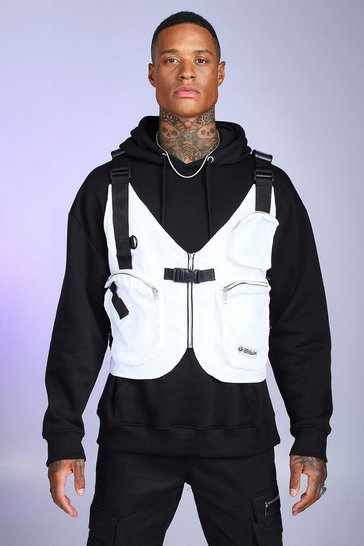 Mens White Multi Pocket Layered Utility Vest