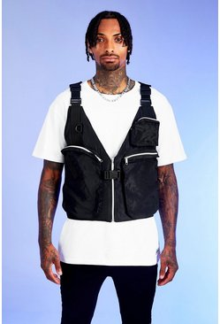 Black Deno Driz Layered Utility Vest