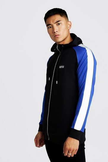 Mens Black MAN Longline Hoodie With Reflective Panels
