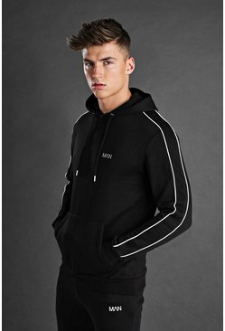 Mens Black MAN Hoodie With Piping Detail