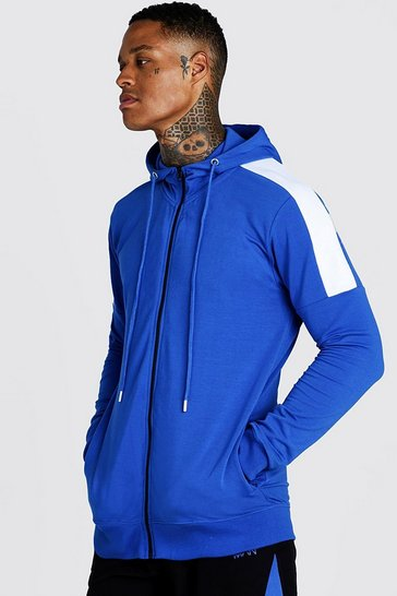 Mens Cobalt MAN Skinny Fit Zip Through With Side Panels
