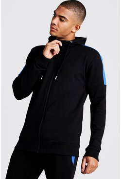 Mens Black MAN Skinny Fit Zip Through With Side Panels