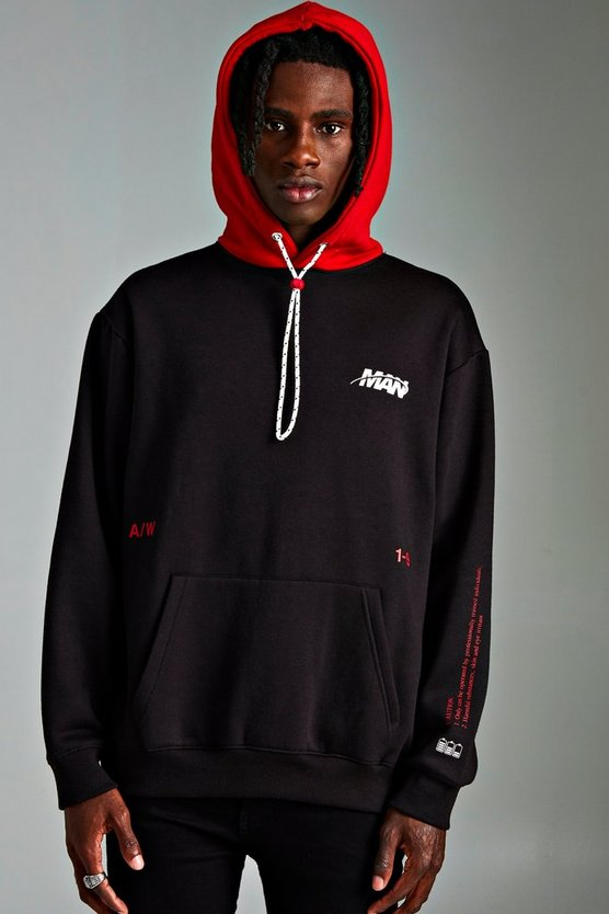 Mens Black MAN Loose Fit Contrast Hoodie