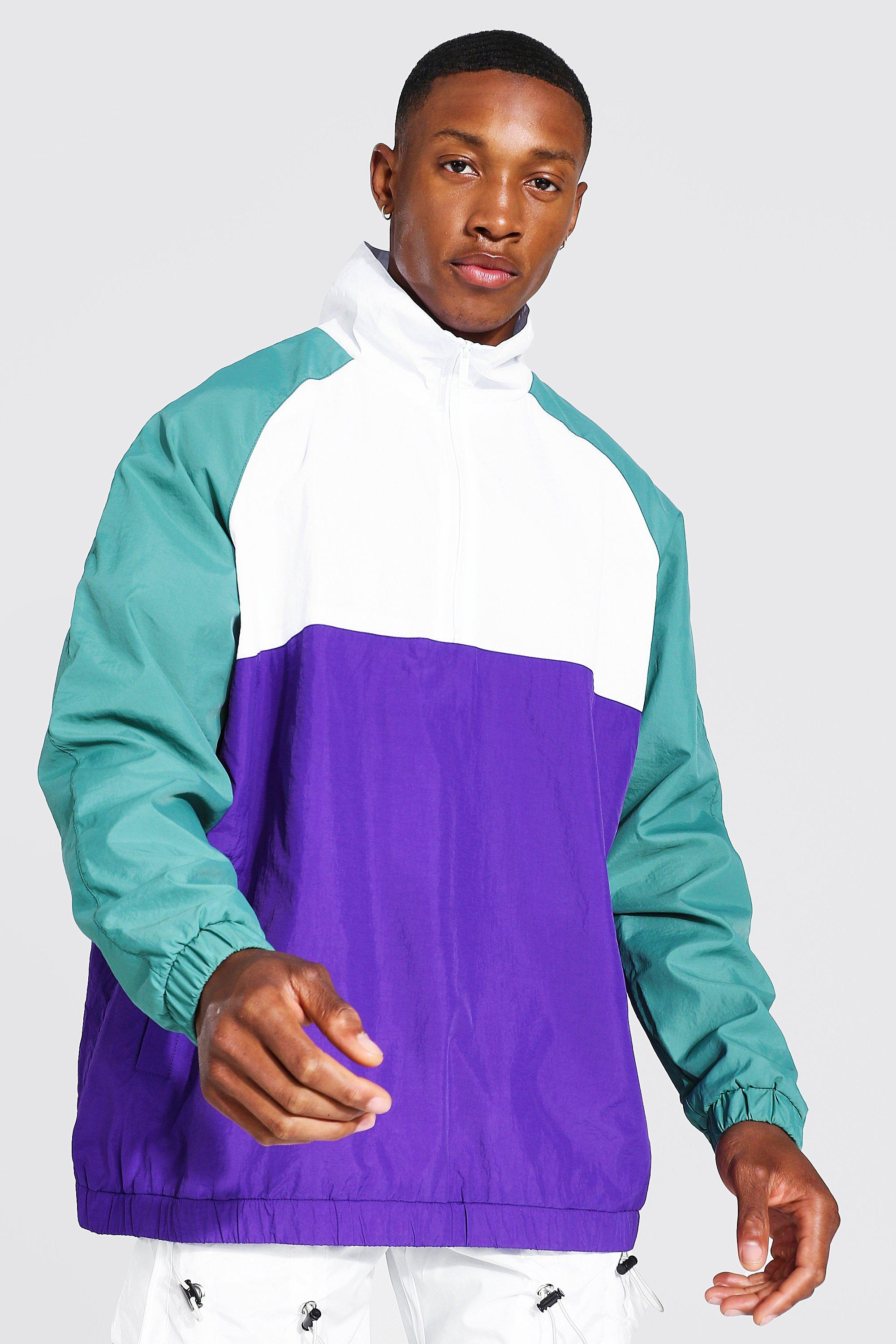 80s Windbreakers, Jackets, Coats | 90s Outerwear Mens Oversized Colour Block Funnel Neck Cagoule - White $21.00 AT vintagedancer.com