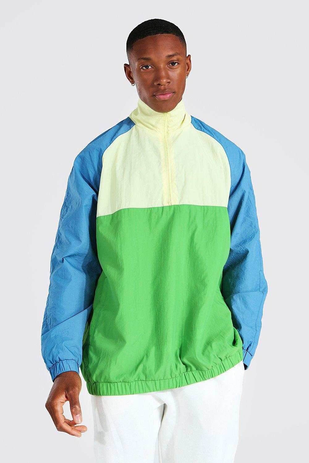 80s Windbreakers, Jackets, Coats | 90s Outerwear Mens Oversized Colour Block Funnel Neck Cagoule - Yellow $20.00 AT vintagedancer.com