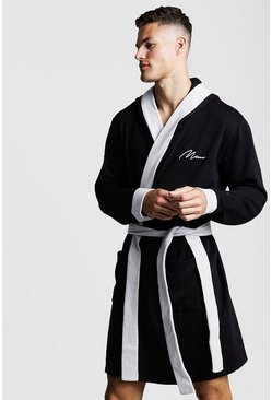 Mens Black MAN Silver Embroidered Robe