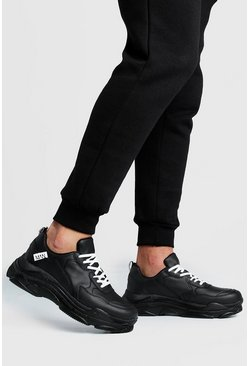 Black MAN Tab Chunky Trainer