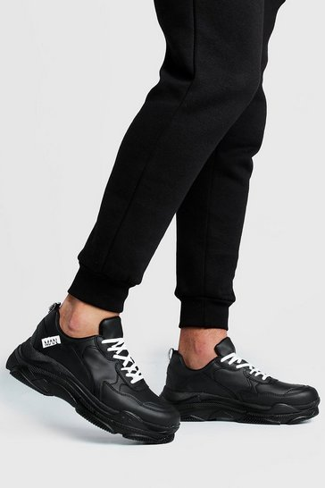 Mens Black MAN Tab Chunky Trainer