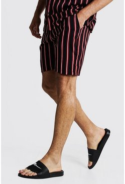 Black Vertical Stripe Print Mid Length Short