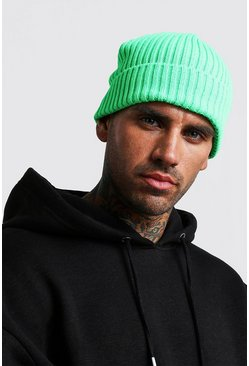 Mens Neon-green Solid Colour Fisherman Beanie