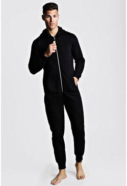 Mens Black Basic Onesie