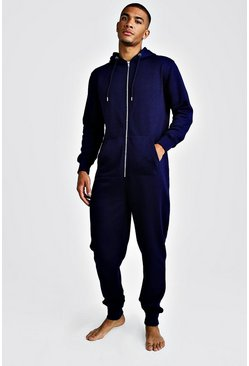 Mens Navy MAN Embroidered Onesie