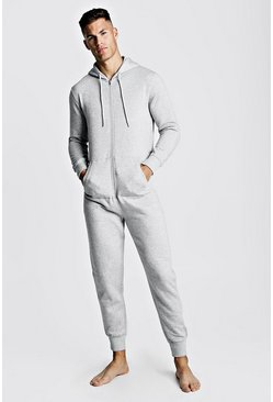 Mens Grey MAN Embroidered Onesie