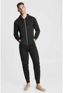 Mens Black MAN Embroidered Onesie
