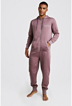 Mens Mauve MAN Dash Onesie