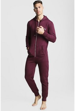 Mens Burgundy MAN Dash Onesie